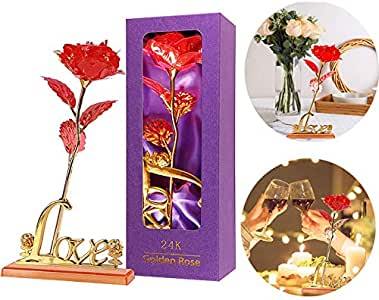 zxm Artificial Flower Rose Gift 24k Gold Rose Unique Gifts for Her Wedding Anniversary Mother's Day Holiday Party (Red)