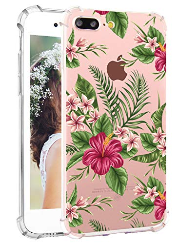Tropical iPhone 8 Plus Case Floral iPhone 7 Plus Case Clear Soft Flexible TPU Watercolor Flowers Floral Print Protective Phone Back Cover Case for iPhone 7 Plus and iPhone 8 Plus by Hepix [5.5 inch]