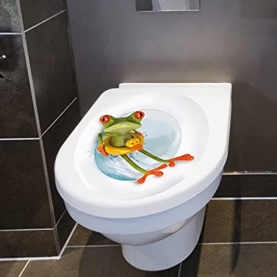 "Wandkings Toilet Lid Decal ""Frog with Lifesaver"" - 11.8 x 15.7 Inch"