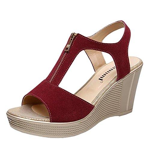 Mashiaoyi Women's Peep-Toe T-Bar Wedge-Heel Zip Sandals US 9 Burgundy