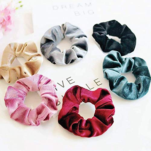 (Hair Ties, Velvet Scrunchies for Hair - Stylish Ponytail Holder - Includes 6 Pastel Colors - Ideal Hair Bands for Women & Girls - Suitable Accessories for Thin or Thick)