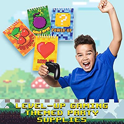 U.S Toy Power Up Video Game & Pixel Themed Notebooks | 8 Count | Classroom Activity, Birthday Parties, Giveaways, Favors, Prizes: Health & Personal Care