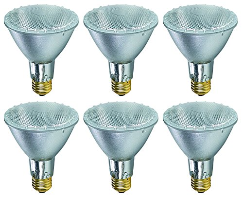 Pack Of 6 38PAR30/FL/LN 120V 39 Watt High Output (50W Replacement) 38W PAR30 Flood 40 Degree Beam Spread 120 Volt Halogen Par 30 Long Neck Light Bulbs
