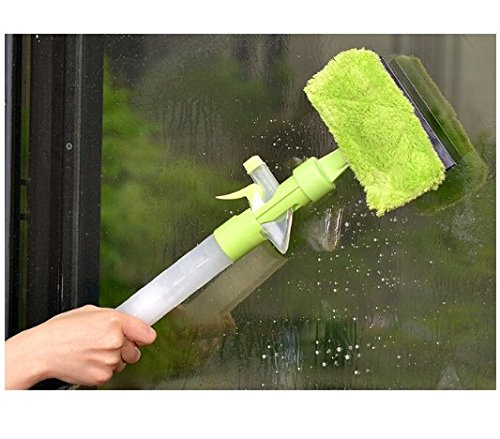 Window Cleaner with Microfiber Scrubber Spray Bottle for Window Shower Floor Car Glass Green Hoocozi Window Scrubber Squeegee