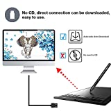 Graphics Tablet M708 UGEE 10 x 6 inch Large Active Area Drawing Tablet with  8 Hot Keys, 8192 Levels Pen, UGEE M708 Graphic Ta