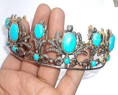 Designer Pave Rose Cut Diamond Tiara - Wedding Rose Cut Diamond Crown - 925 Sterling Silver Tiara Crown - Diamond 925 Silver Tiara - Handmade Tiara - Hair Jewelry by Vinita Jewels
