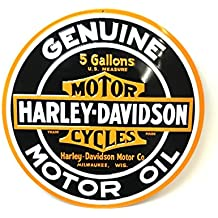 "Harley-Davidson® Tin Sign Collection ""Genuine Motor Oil"" Round. 2010621"