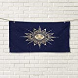 Chaneyhouse Psychedelic,Hand Towel,Vintage Occult Sun with Face Boho Chic Esoteric Solar Spiritual Display,Quick-Dry Towels,Yellow Dark Blue Size: W 20'' x L 20''
