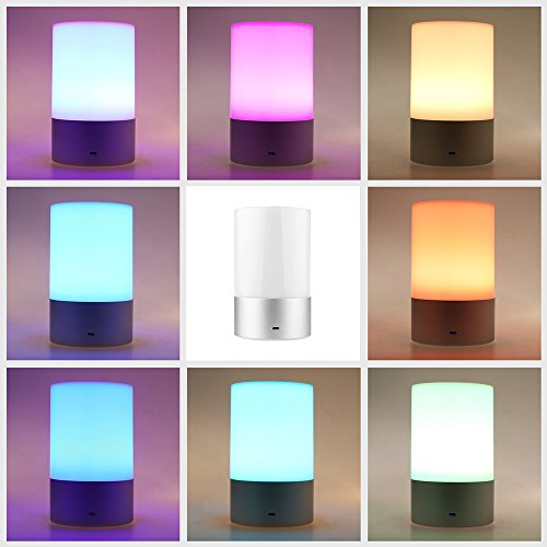 ALLOMN RGB LED Touch Bedside Night Light Rechargeable Table Atmosphere Lamp 3-Level Brightness Dimmable Warm White Light for Men Women Teens Children Sleeping Aid