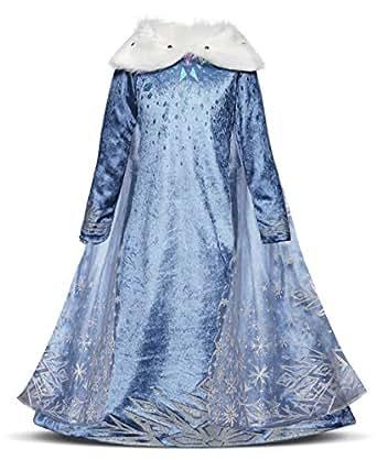 AmzBarley Vestido Princesa Niña Fiesta,Traje Precioso Princesa Chulo Disfraz Disfraces Chicas Frozen Elsa Manga Larga para Halloween Cosplay Carnaval Ceremonia Boda Bautizo Baile 7-8 Años 130