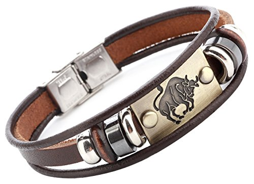 Hamoery Punk Beaded Alloy Multilayer Braided Rope Constellation Leather Cuff Bracelet Bangle Wristband(Taurus)