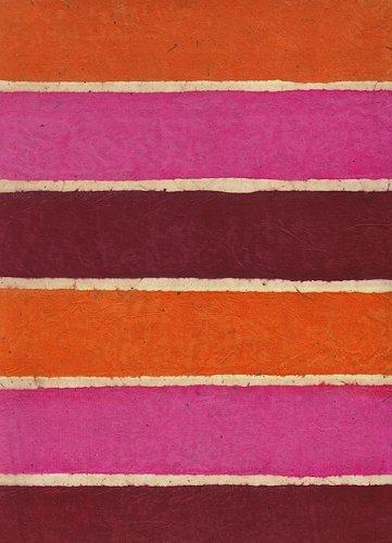 Batik Stripe Lokta Paper- Sunset (Orange/Magenta/Burgundy) 20x30 Inch - Batik Collages