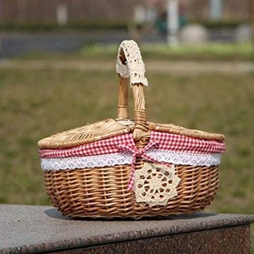 YeBetter Hand Made Wicker Basket Wicker Camping Picnic Basket Shopping Storage Hamper and Handle Wooden Color Wicker Picnic Basket
