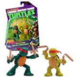 Playmates Year 2013 Nickelodeon Teenage Mutant Ninja Turtles TMNT Series 2 Pack 2-1/2 Inch Tall Action Figure - Ninjas in Training RAPHAEL and MICHELANGELO with 2 Sais and 2 Nunchakus