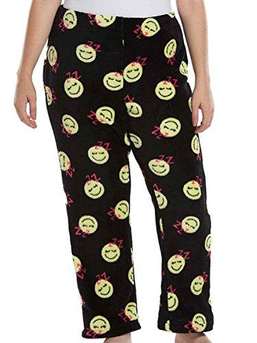 SO Junior Womens Black Sleepy Face Plush Lounge Sleep Pants Pajama Bottoms 1X (Smiley Face Lounge Pants)