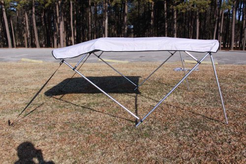 """New Grey/Gray Pontoon / Deck Boat Vortex 4 Bow Bimini Top 10' Long, 91-96"""" Wide, 54"""" High, Complete Kit, Frame, Canopy, and Hardware (FAST SHIPPING - 1 TO 4 BUSINESS DAY DELIVERY)"""