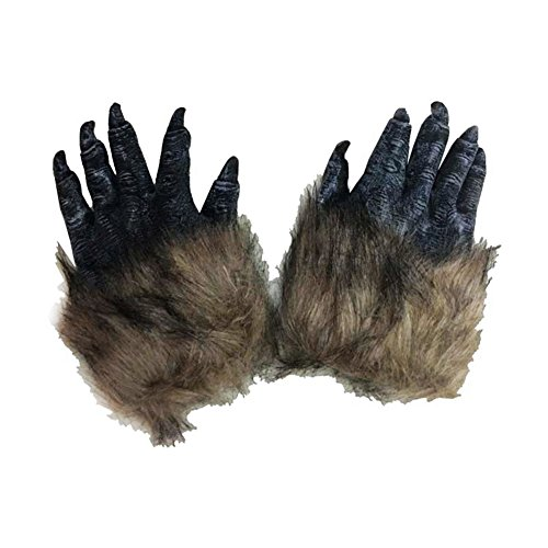 Men's Brown Hairy Wolf Claw Gloves