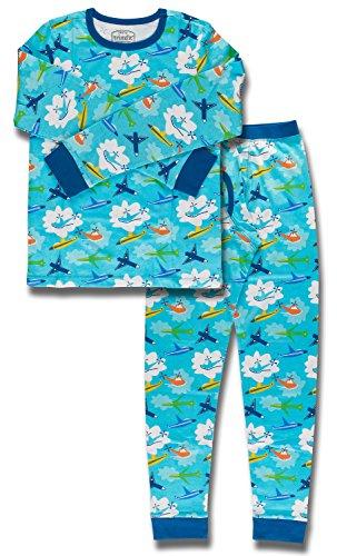 Trimfit Big Boys' Organic Cotton 2-Piece Long Sleeve Dreamwear Pajama Set, Planes, Large/10-12