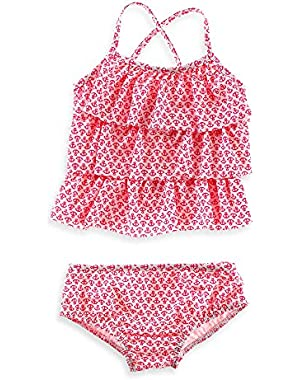 Baby Girls' 2-piece Swimsuit Set (2t, White/Neon Anchor)