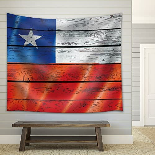 wall26 – Flag of Chile on a Wooden Background – Fabric Tapestry, Home Decor – 68×80 inches