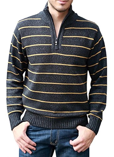 EMAOR Men's Knit Sweater Striped Quarter-Zip Knitwear