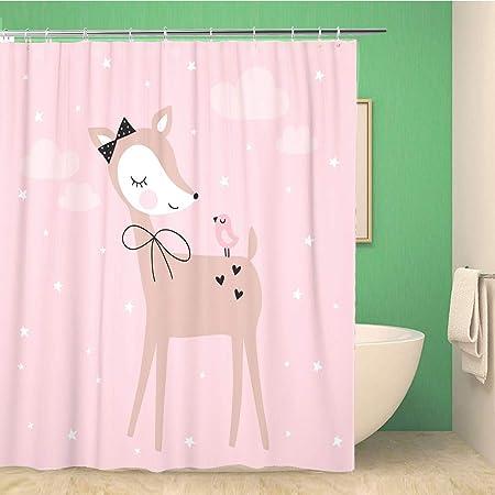 KEIOPO Bathroom Shower Curtain Cute Pretty Deer with Bird Vector ...