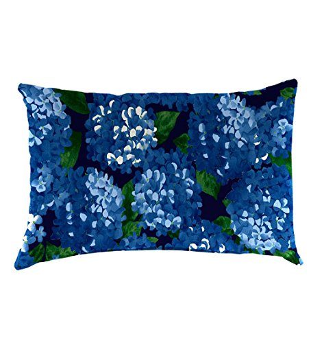 Classic Polyester Decorative Outdoor Lumbar Throw Pillow, 19'' x 12'' x 5.5'' - Midnight Hydrangea