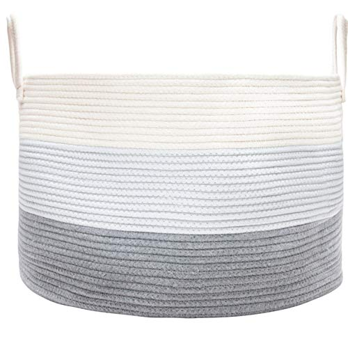 OrganiHaus XXL Cotton Rope Basket | Wide 20'' x 13.3'' Blanket Storage Basket with Long Handles | Decorative Clothes Hamper Basket | Extra Large Baskets for Blankets Pillows or Laundry (Grey) by OrganiHaus