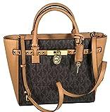 MICHAEL Michael Kors Women's Hamilton Traveler STUDDED Large TOTE Leather Handbag (Brown/Acorn)
