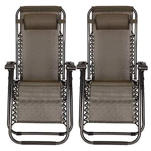 TimmyHouse Beach Chairs Zero Gravity Folding Lounge Outdoor Recliner in Black Paid 2 PCS (Pc Lounge)