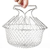 Fry French Chef Basket by AIQI, Foldable Steam Rinse Strain Magic Stainless Steel Strainer Net Basket for Kitchen Cooking