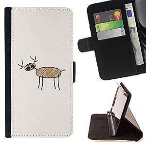 BullDog Case - FOR/Samsung Galaxy S4 Mini i9190 / - / child drawing art deer forest pencil kid painting /- Monedero de cuero de la PU Llevar cubierta de la caja con el ID Credit Card Slots Flip funda de cuer