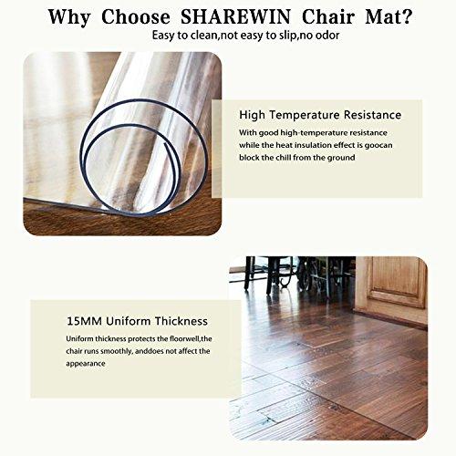 SHAREWIN Chair Mat for Hard Wood Floors - 36''x47'' Heavy Duty Floor Protector - Easy Clean  by SHAREWIN (Image #3)