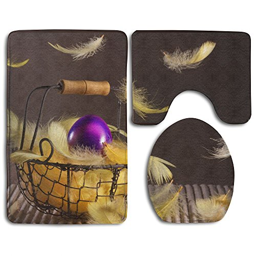 Easter Egg Bath Mat Design Non-Slip 3 Piece Bathroom Mat Bathroom Rugs/Contour Mat/Toilet Cover