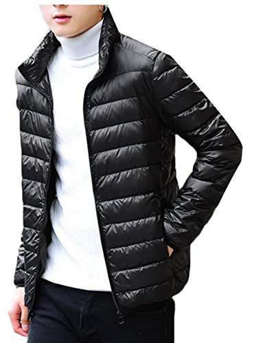 Coats Generic Puffer Down Stand Men's Casual Black Light Collar 00npSzP