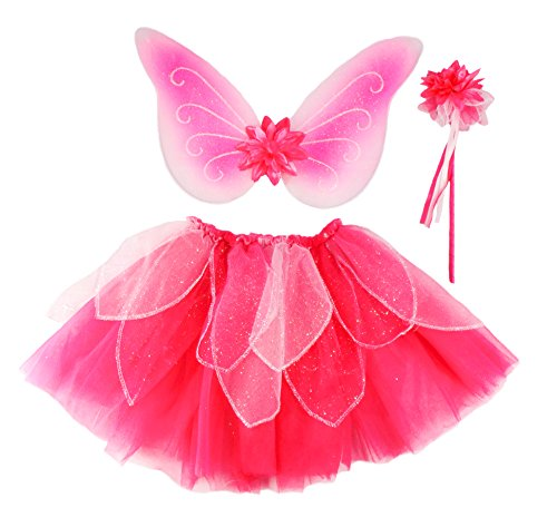 Creative Education Great Pretenders Fancy Flutter Skit with Wings & Wand, Pink, Size 4-7 (Wings Fairy Silks Pink)