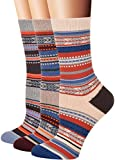 Flora&Fred Women's 3 Pair Pack Vintage Style Wheat Cotton Crew Socks Large