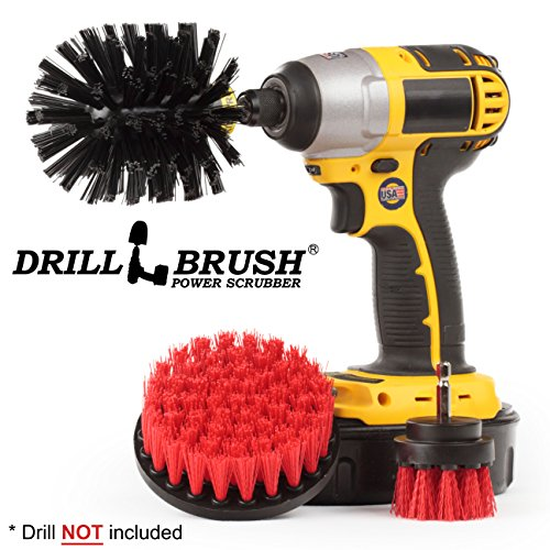 Nylon Stiff Scrub Brush Attachment for Electric Battery Rechargeable Handheld Drills ()