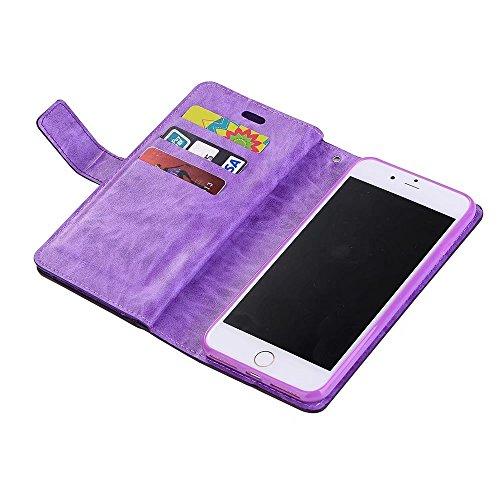 JIALUN-carcasa de telefono Caso 9 ranuras para tarjetas de cuero de la PU cubierta de la caja con cremallera y cordón y Kickstand para el iPhone 7 Plus ( Color : Green ) Purple