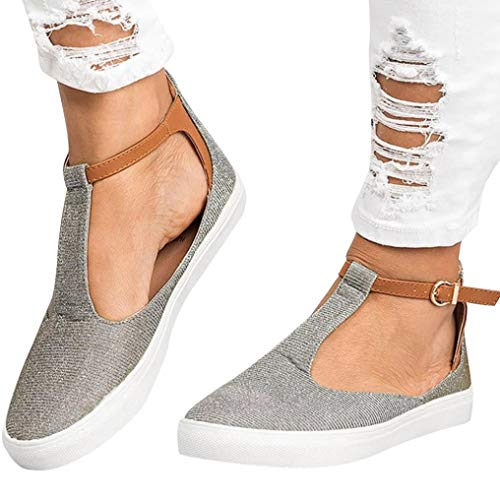 JESFFER Women Vintage Out Shoes Round Toe Platform Flat Heel Buckle Strap Casual Shoes (9, Gray) from JESFFER