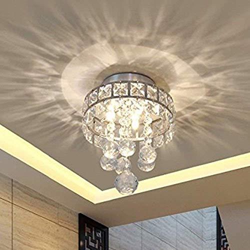 TiptonLight Mini Style 3-Light Chrome Finish Crystal Chandelier Pendent Light for Hallway,Bedroom,Kitchen,Kids Room,3x1W LED Bulb Included, Warm White Light (Chrome)