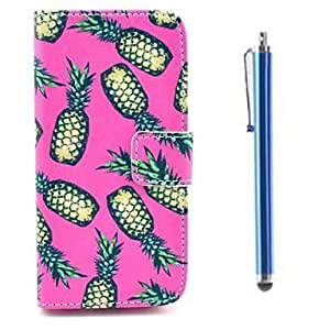 Mini - Ananas Pattern PU Full Body Case with Card Slot and Stand for iPhone 5/5S