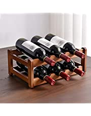 Cokritsm 6 Bottle Wine Racks Countertop Bamboo ,Small 2Tiers Tabletop Wine Storage Wine Holder for Pantry Cabinet Bar, Home Decor, Bar, Wine Cellar, Basement