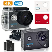 WONNIE 4K WIFI Sports Action Camera,HD 16MP Waterproof Digital Video Camera,2 Rechargeable Batteries/ 170° Ultra Wide-Angle Lens for Biking,Skiing,Water Sports,Provide 3-Color Shell (Balck Red White)