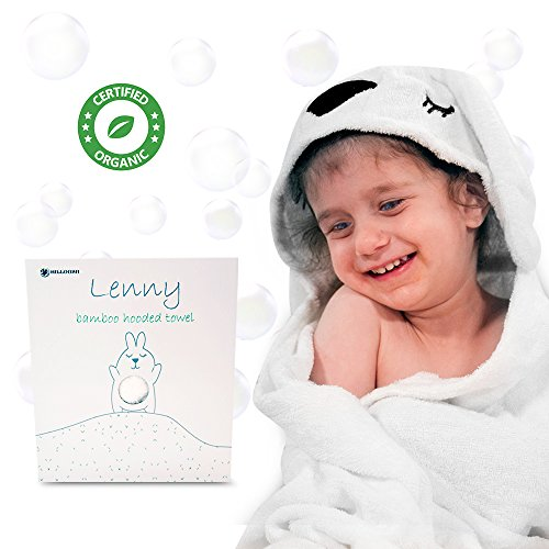 Bunny Lenny Adorable Bamboo Baby Hooded Towel | Soft & Antibacterial 100% Organic Bamboo Bath Cloth For Newborns & Infants | Hypoallergenic & Ultra Absorbent Toddler Towel | Perfect Baby Shower Gift