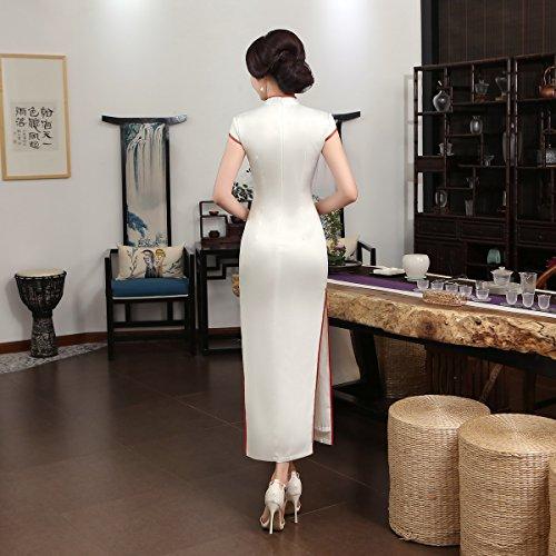 Blanc Party Cheongsam Acvip Soirée Fleur Robe Femme Maxi Qipao Asiatique Dress De Long qB7aqvw