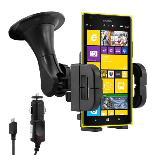 kwmobile Car mount for Nokia Lumia 1520 + charger - Mobile phone fits in the mount with case or cover! (Car Mount For Nokia Lumia 1520)