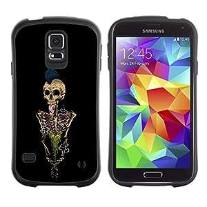 Suave TPU GEL Carcasa Funda Silicona Blando Estuche Caso de protección (para) Samsung Galaxy S5 / CECELL Phone case / / Skeleton Punk Rock Skull Black Paint /