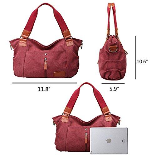 Hobo Tote Women's Top Canvas Large Bag Bag Crossbody Shoulder Shopper Khaki Size Handbag handle Vintage B5BAWr
