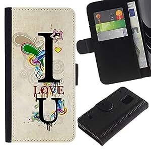 Paccase / Billetera de Cuero Caso del tirón Titular de la tarjeta Carcasa Funda para - Design I Love You Lock - Samsung Galaxy S5 V SM-G900